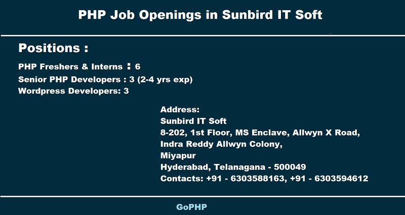 PHP frehers in Sunbird IT Soft Hyderabad